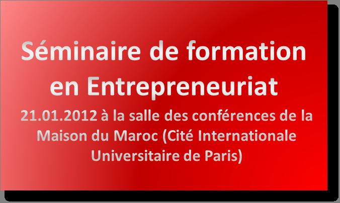 séminaire de formation en entrepreneuriat à Paris