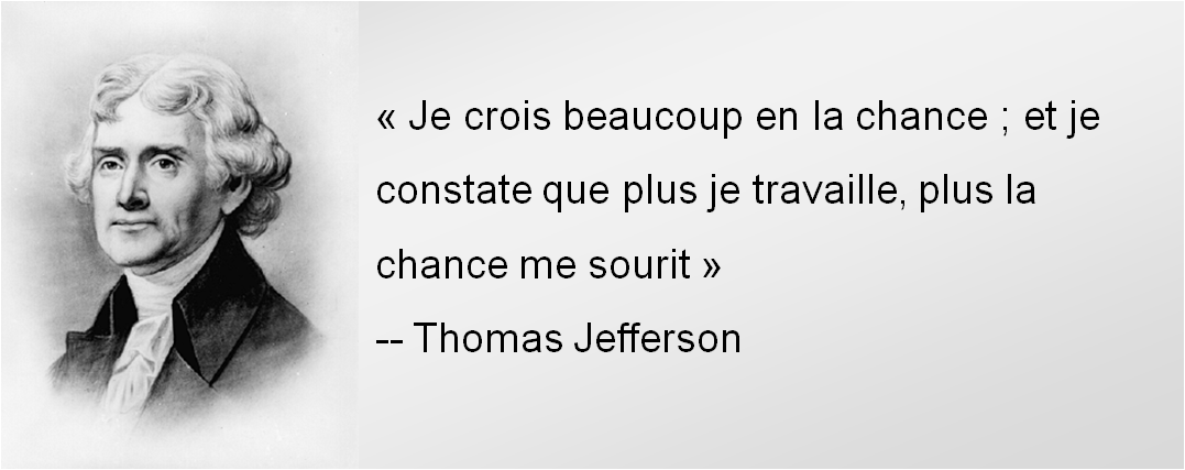 Je crois beaucoup en la chance et je constate que plus je travaille plus la chance me sourit - Thomas Jefferson