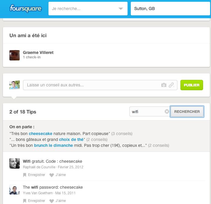 codes wifi Foursquare